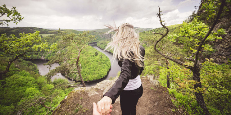 Courageous Woman Enjoys Dangerous Vyhlidka Maj Viewpoint