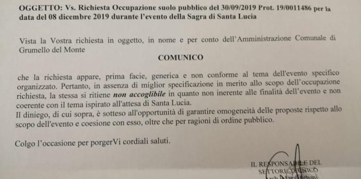 """Grumello – il Comune respinge lo stand del Comitato 'Salute e Territorio"""""""